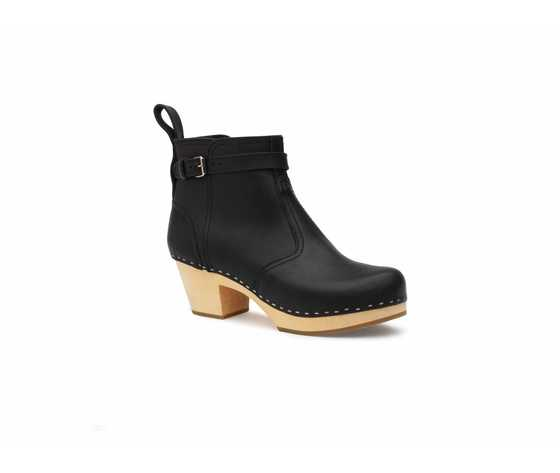 Swedish Hasbeens Jodhpur, Black/ sole natural