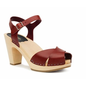 Swedish Hasbeens Merci Sandal, wine red, rosso vino, suola naturale/nature sole