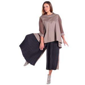 Blusa avana in cotone popeline elasticizzato, camicia a trapezio ampia