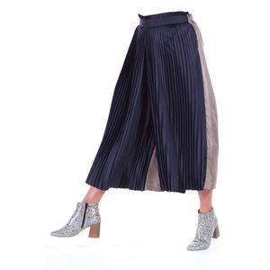 Gonna pantalone bicolore nero e avana, plissè, ampio