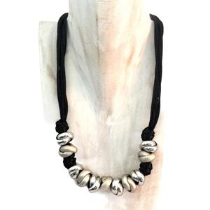 Collana girocollo nera e argento