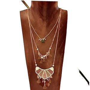 Collana tre fili stile egizio oro e verde