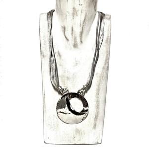 Collana artigianale made in Italy,  perla in alluminio e cotone