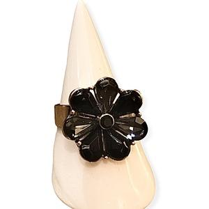 Anello luminoso dalla forma a fiore nero e oro
