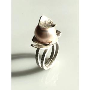 ANELLO PEARL, GIOIELLO SCULTURA, handmade, creazione d'arte in argento