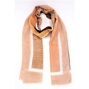 sciarpa ampia e avvolgente variopinta sui toni del beige, cotone e viscosa