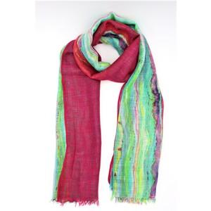 sciarpa ampia e leggera multicolor, viscosa effetto lino
