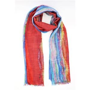 sciarpa multicolor ampia e leggera, viscosa effetto lino