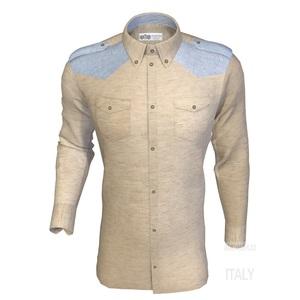Camicia Lino Sabbia Doppia Tasca Inserti
