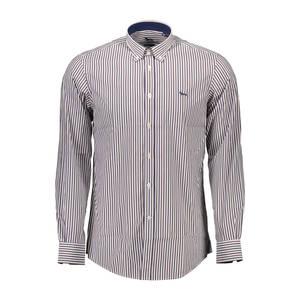 camicia maniche lunghe, narrow fit, collo botton down, polsini 1 bottone, interno collo e polsini in contrasto, logo