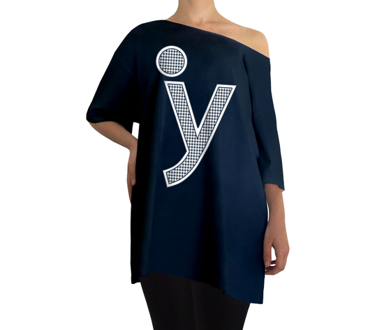 Oversize y logo pied de poule blu