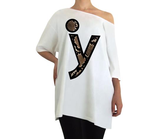 Oversize y logo pitone bianco