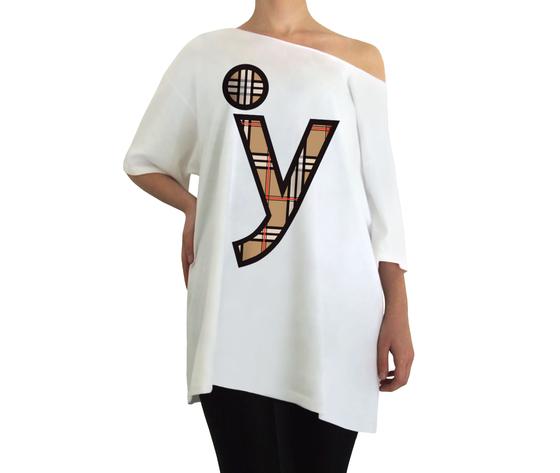 Oversize y logo tartan bianco