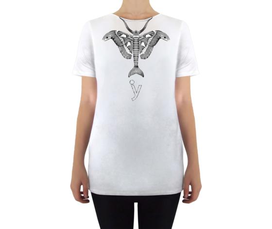 Maglietta taglio vivo veleno bianco bianco