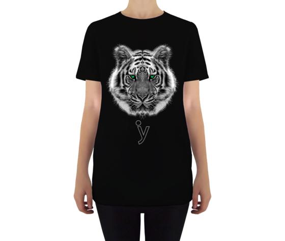 Maglietta tigre occhi verdi donna nero