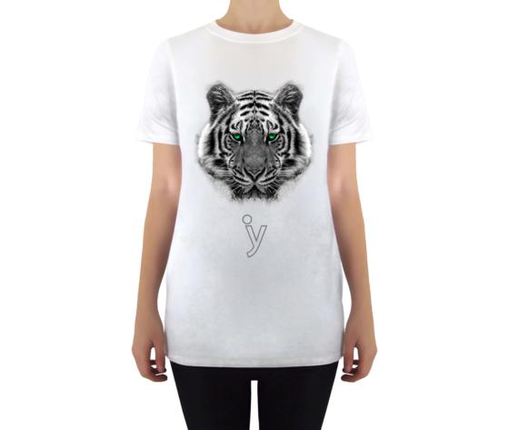 Maglietta tigre occhi verdi donna bianco
