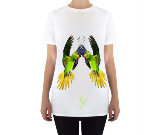 Maglietta taglio vivo pappagalli donna bianco