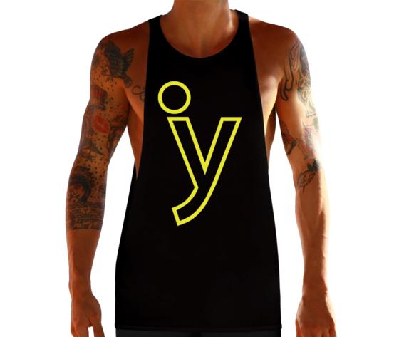 Canotta taglio vivo y logo nero giallo