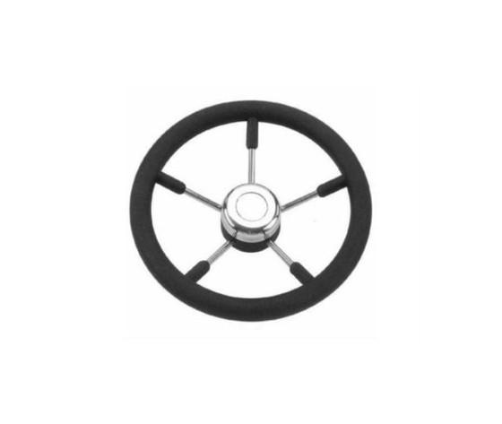 5945 volante inox e poliuretano nero 35 cm