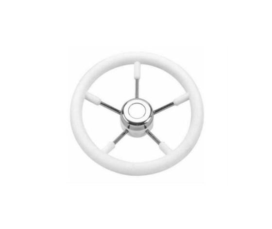 5944 volante inox e poliuretano bianco 35 cm