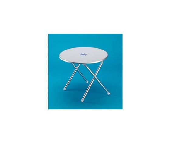 9398 tavolo pieghevole tondo in alluminio anodizzato con piano bianco decori nautici