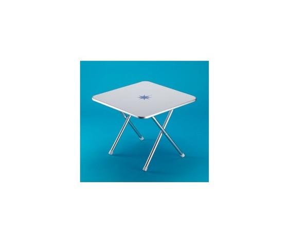 9399 tavolo pieghevole quadrato in alluminio anodizzato con piano bianco decori nautici 60x60x60 cm