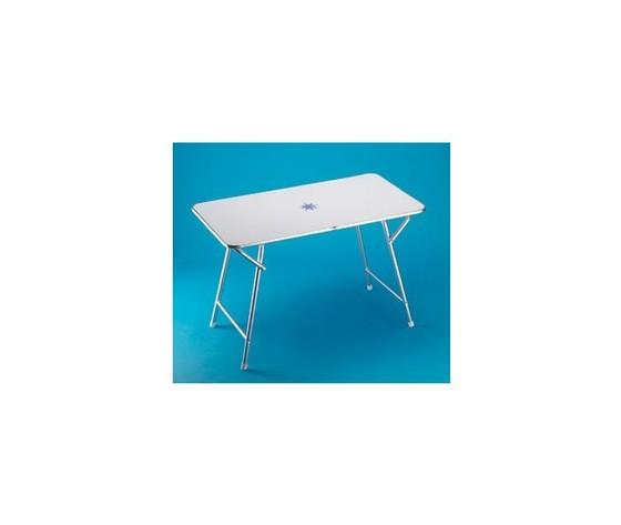 9404 tavolo pieghevole rettangolare in alluminio anodizzato con piano bianco decori nautici 60x110x70 cm