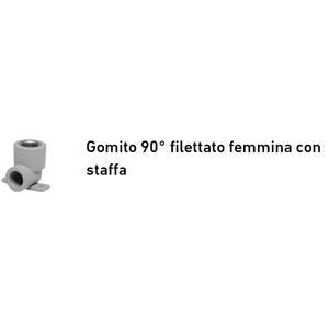 +GF+ GOMITO 90° FILETTATO FEMMINA CON STAFFA D.20 AQUASYSTEM PP-R 4039