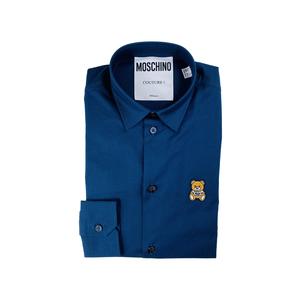 Moschino Camicia Blu Logo Orso