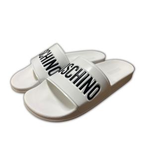 Moschino Ciabatta Bianca Logo Nero