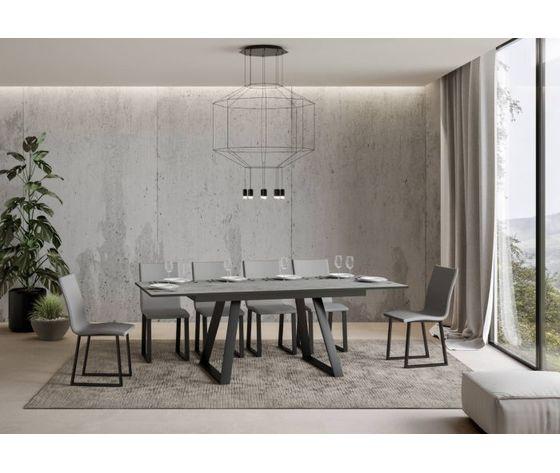 Tavolo bernadette 160 allungabile aperto cemento