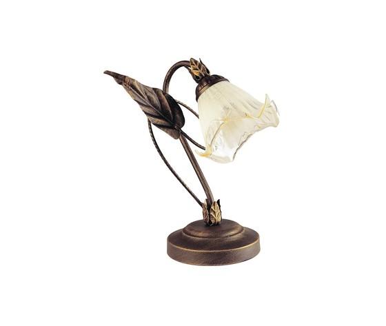 Lampada da tavolo floreale decoro a mano metallo ramato diffusore vetro classica e14
