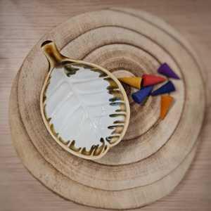 Piattino Porta Incenso Foglia in Ceramica - Bianco - Teos
