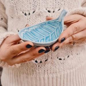 Piattino Porta Incenso Foglia in Ceramica - Azzurro - Teos