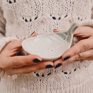 Piattino Porta Incenso Foglia in Ceramica - Bianca&Verde - Teos