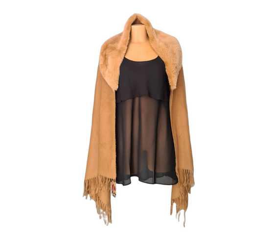 Scialle donna gianmarco venturi camel pelliccia dintetica autunno inverno idea regalo natale