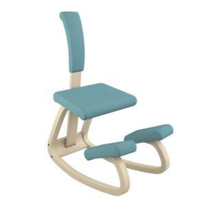 Varier Variable con schienale+cuscino naturale Revive azzurro