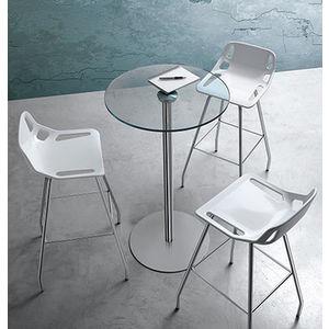tavolino inox e vetro