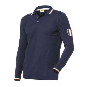 Polo 100%cot.blu c/colletto tricolore