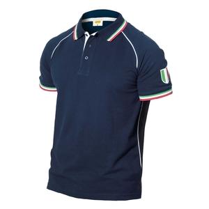 Polo blu navy c/colletto tricolore