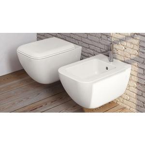 Vaso + bidet Shui Comfort sospeso bianco lucido e sedile soft close