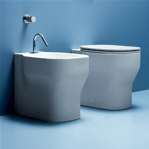 Vaso + bidet Glaze a terra dell'Azzurra bianco lucido e sedile