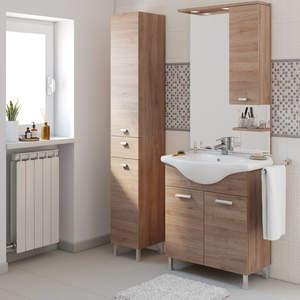 Composizione base da 75 Rovere + lavabo in ceramica + specchio c/pensile c/illuminazione led