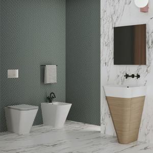 Vaso + bidet Build dell'Azzurra bianco lucido e sedile soft close