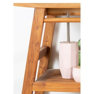 Porta scopino coperchio legno, manico metallo toilet brush holder with wooden lid and metal handle Misure – Sizes Ø 10x40h cm