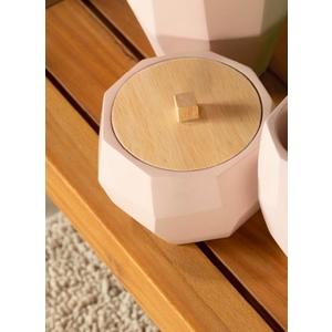 Porta cotone con coperchio in legno Cipì - Cotton bowl with wooden lid