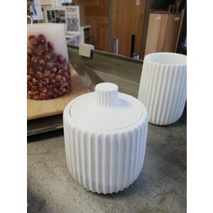 Portacotone PLISSE' BIANCOCIPI' - cotton bowl. Misure – Sizes Ø 9x11h cm
