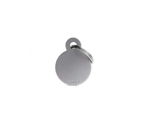 Medaglietta collezione basic cerchio piccolo grigio in alluminio