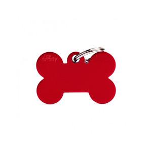 Medaglietta collezione Basic Osso Grande Rosso in Alluminio