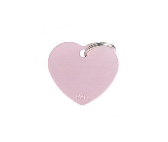 Medaglietta basic cuore grande rosa in alluminio